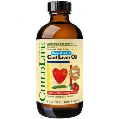 Ulei de ficat de cod (omega 3) pt copii 237ml (gust de capsune) Childlife Essentials