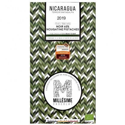Ciocolata belgiana artizanala cu umplutura de fistic, Nicaragua eco 70g Millesime