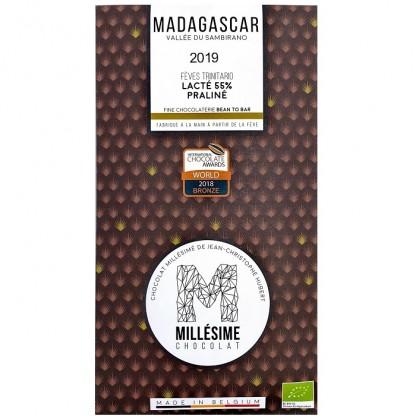 Ciocolata belgiana artizanala cu umplutura de praline, Madagascar eco 70g Millesime