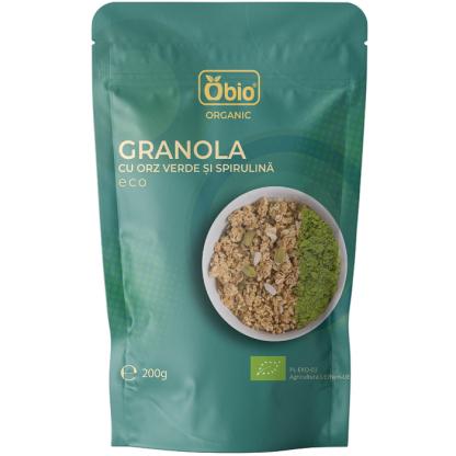 Granola cu orz verde si spirulina bio 200g Obio