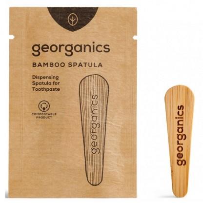 Spatula din lemn pentru pasta de dinti la borcanas Georganics