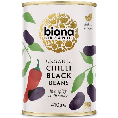 Fasole neagra in sos chilli BIO 410g Biona