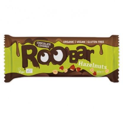 Baton cu alune de padure invelit in ciocolata bio 30g Roobar