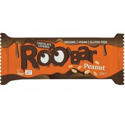 Baton cu arahide invelit in ciocolata bio 30g Roobar