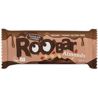Baton cu migdale invelit in ciocolata bio 30g Roobar