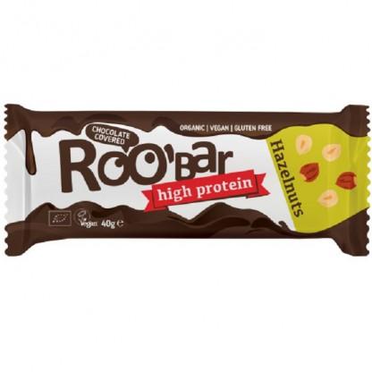 Baton proteic cu alune de padure invelit in ciocolata bio 40g Roobar