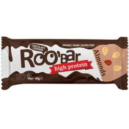 Baton proteic cu migdale invelit in ciocolata bio 40g Roobar