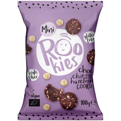 Mini cookies cu ciocolata si alune bio 100g Rookie