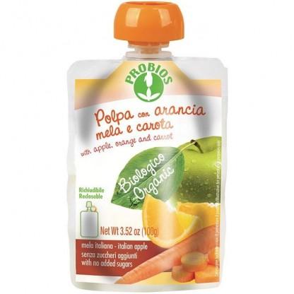 Piure de mere, portocale, morcovi (fara zahar) 100g Probios
