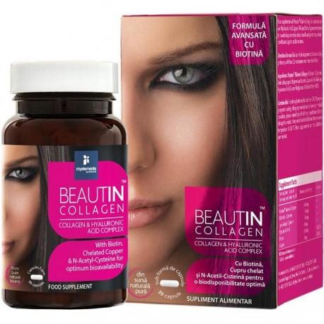 Beautin collagen cu acid hialuronic si biotina 30 capsule My Elements