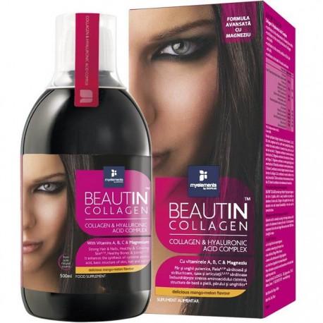 Beautin collagen lichid (mango si pepene) cu acid hialuronic si magneziu 500 ml My Elements