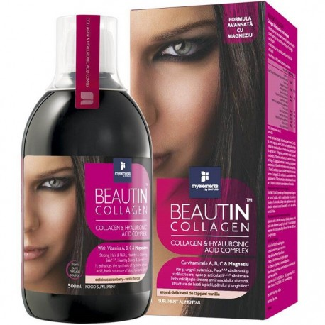 Beautin collagen lichid (capsune si vanilie) cu acid hialuronic si magneziu 500 ml My Elements