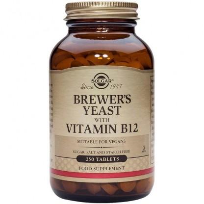 Brewer's Yeast cu Vitamina B12 500mg 250 tablete (Drojdie de bere) Solgar