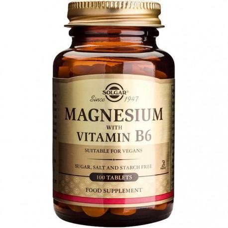 Magnesium + B6 (Magneziu cu vitamina B6) 100 tablete Solgar