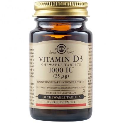 Vitamina D3 1000iu 100tb Masticabile Solgar