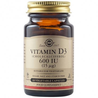 Vitamina D3 600 UI (Colecalciferol) 15 mcg 60 capsule vegetale Solgar