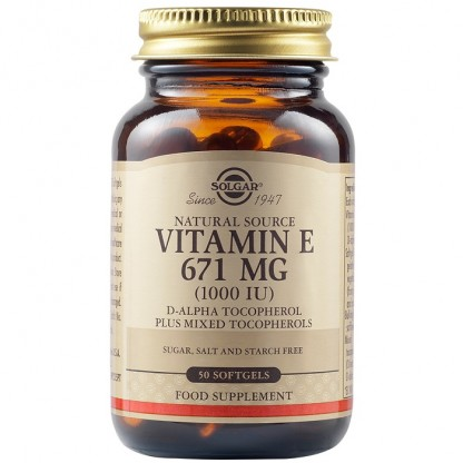 Vitamina E din surse naturale 671 mg (1000 UI) 50 capsule vegetale Solgar