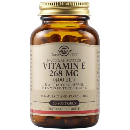Vitamina E din surse naturale 268 mg (400 UI) 50 capsule vegetale Solgar