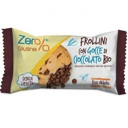 Biscuiti Frollini bio cu picaturi de ciocolata, fara gluten 70g Fior di Loto