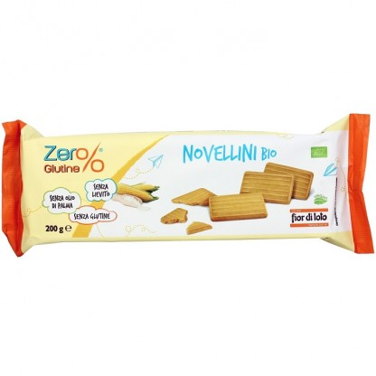 Biscuiti Novellini bio fara gluten, fara drojdie, fara ulei de palmier 200g Fior di Loto