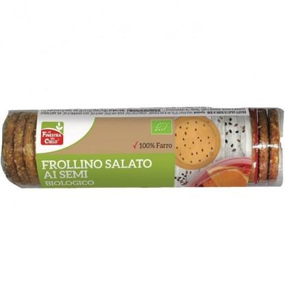 Biscuiti bio sarati FrolIino din spelta, cu seminte (de in si chia) 250g La Finestra Sul Cielo