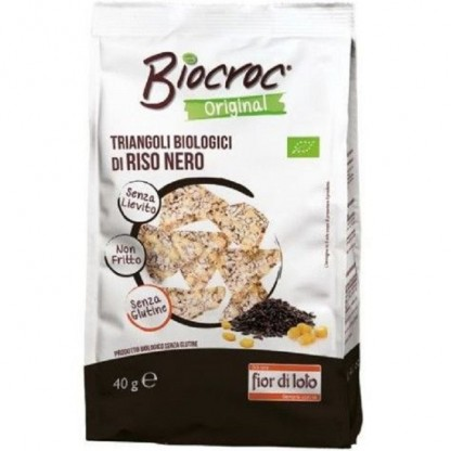 Snack triunghiular bio de orez negru, fara gluten, fara drojdie 40g Fior di Loto