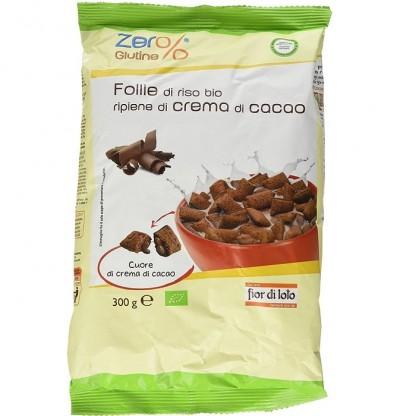 Pernute de orez bio umplute cu crema de cacao, fara gluten 300g Fior di Loto